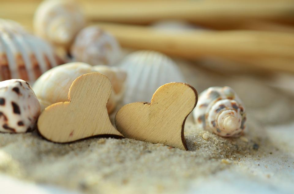 Sand, Heart, Wood, Mussels, Beach, Symbol, Love