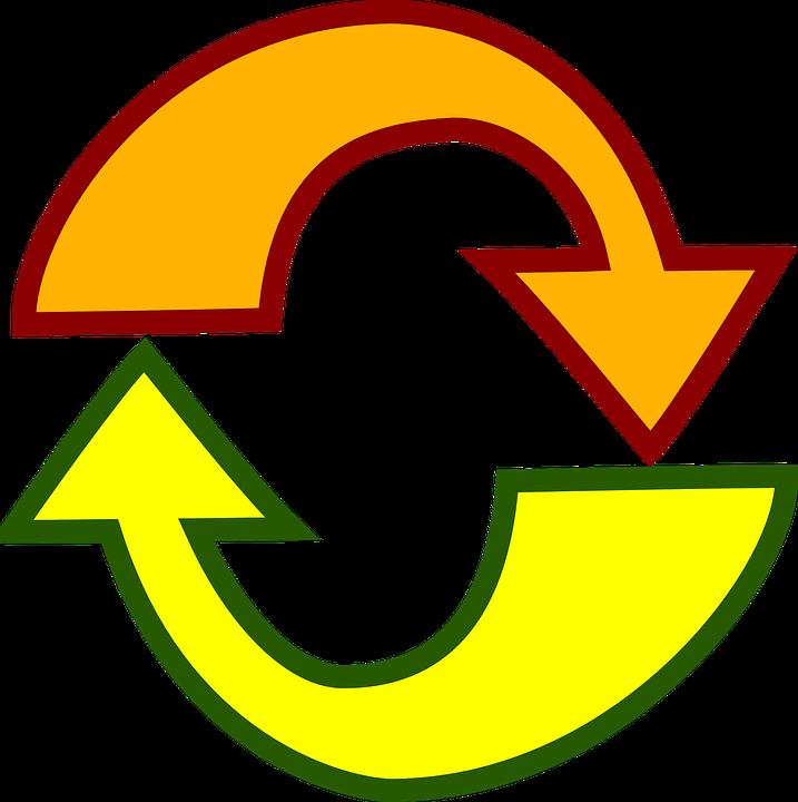 Arrows, Reload, Yellow, Orange, Icon, Symbol