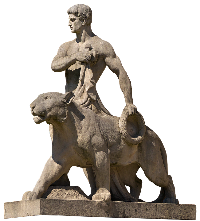 Sculpture, Man, Panther, Laurel Wreath, Symbol, Drama