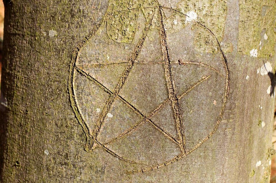 Pentacle, Paganisch, Symbol, Eingeritzter Tree, Star