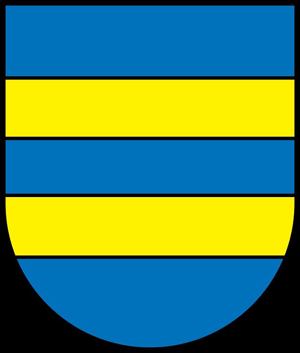 Blue, Yellow, Shield, Coat, Arms, Symbols