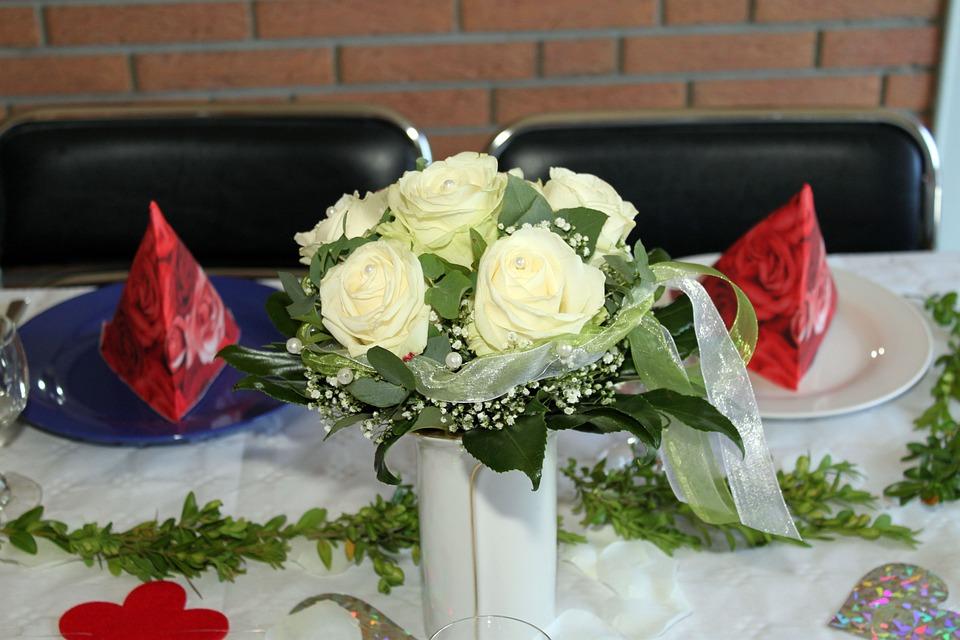 Roses, Table Decoration, Table Arrangement, Flowers