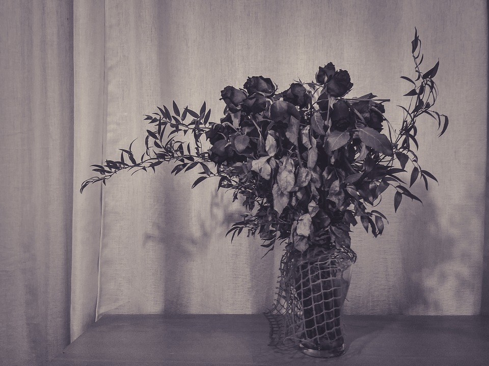 Roses Flowers Black And White Table Bouquet Dead