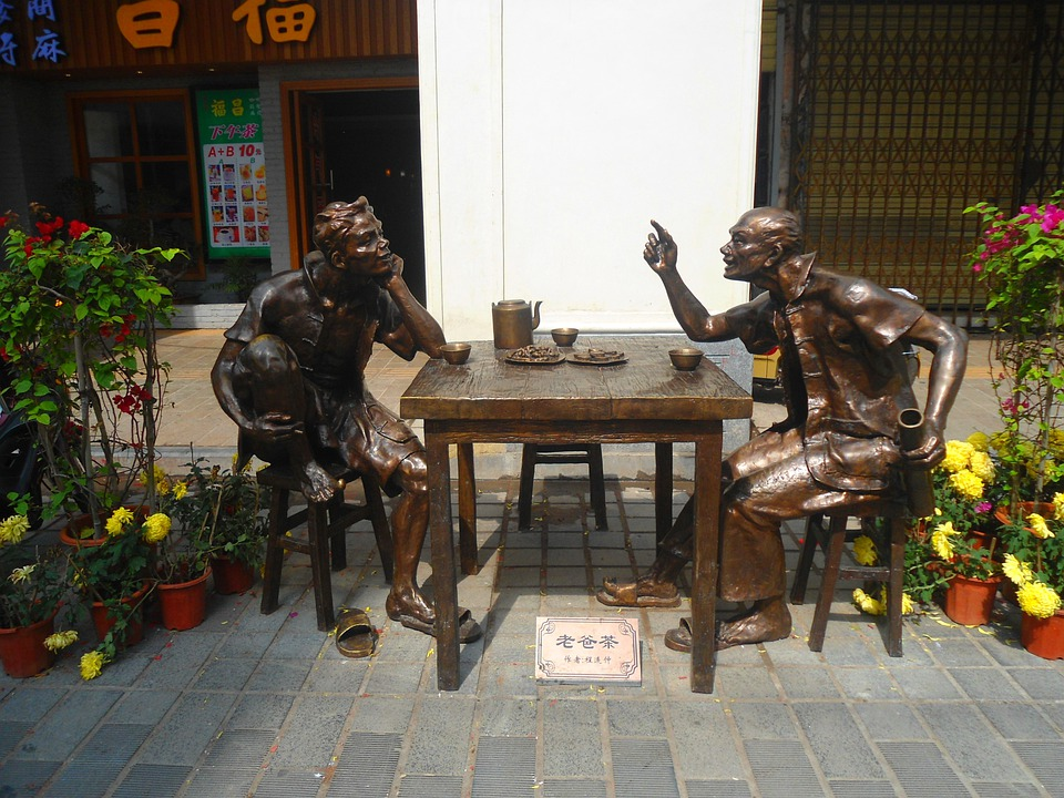 Zhongshan, China, Statue, Statues, Table, Chairs, Art