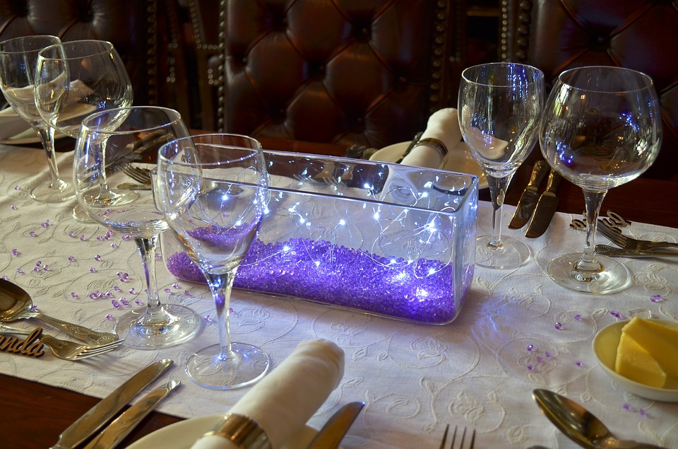 Wedding Table, Table Decoration, Glasses