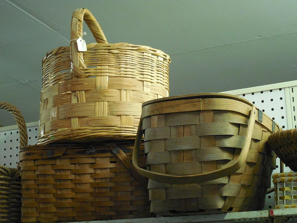 Wicker, Baskets, Natural, Design, Table, Home, Brown