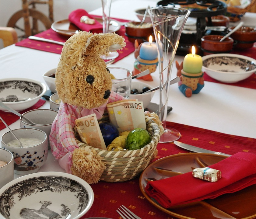 Easter, Hare, Gift, Table, Board, Eat, Gedeckter Table