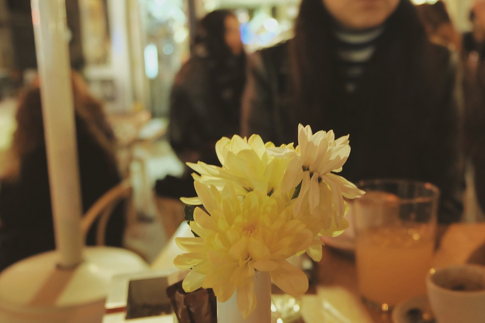 Restaurant, Table, Flowers, Vase, People