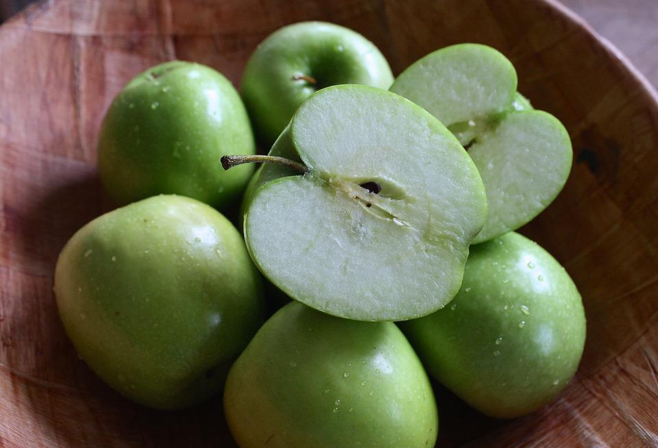 Wood Bowl, Green Apples, Green, Homemade, Table, Diet