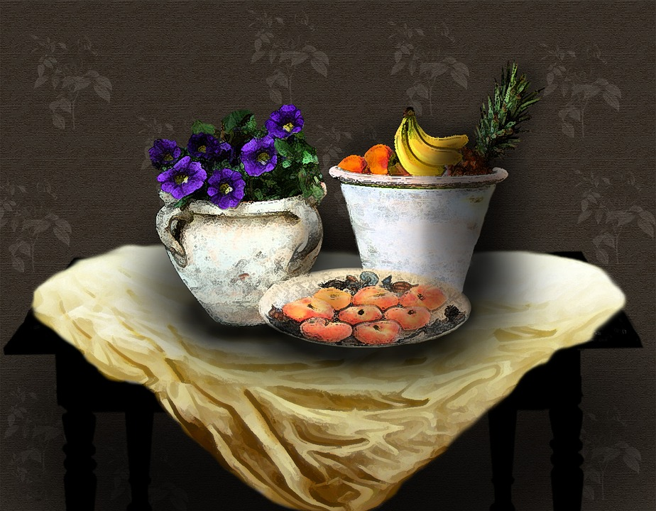 Image, Still Life, Table, Fruit, Ceramic Pots, Art