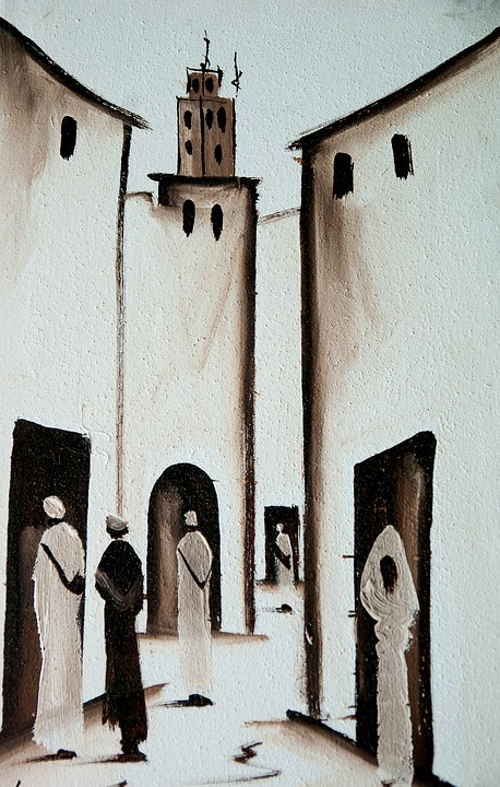 Morocco, Lane, Medina, Table, Painting