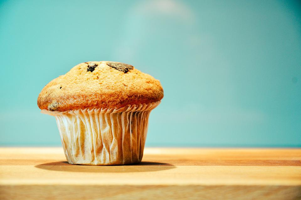Food, Snack, Treat, Muffin, Wooden, Table, Isolated