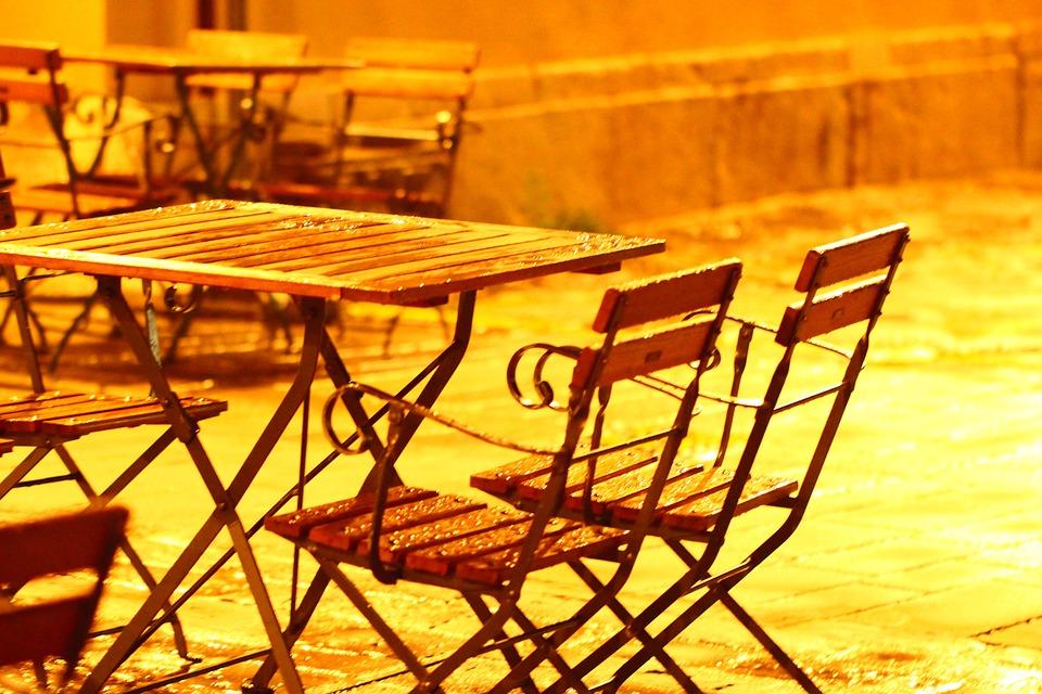 Table, Back Light, Orange, Rain, Street Lamp