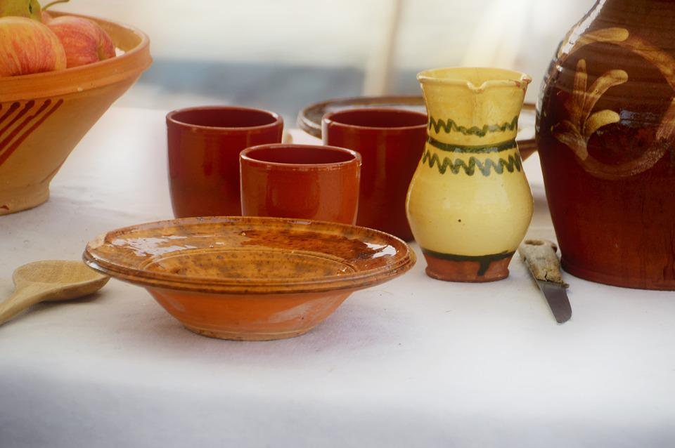 Table, Plate, Pot, Glass, Terracotta, Accessory