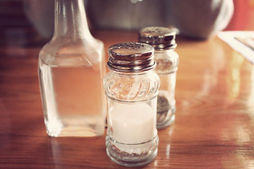 Salt, Pepper, Shakers, Vinegar, Table, Restaurant