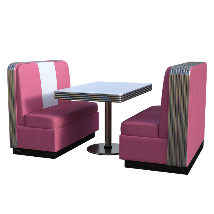 Dining, Booth, Pink, Table, Seats, Texture, Leather
