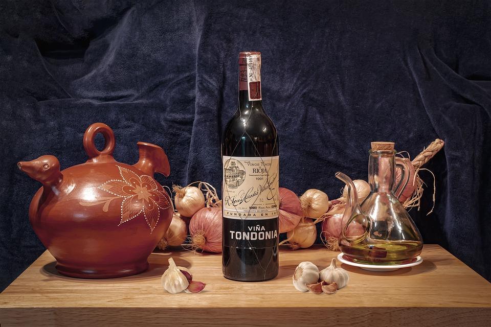 Wine, Oil, Bottle, Garlic, Table, Still Life