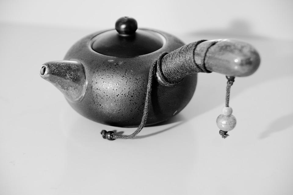 Japanese Clay Teapot, Tableware, Black And White Photo