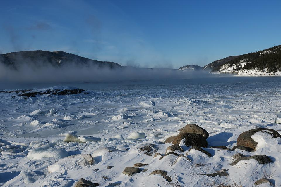 Tadoussac, Fjord, Water, Night, Winter, Ice, Landscape