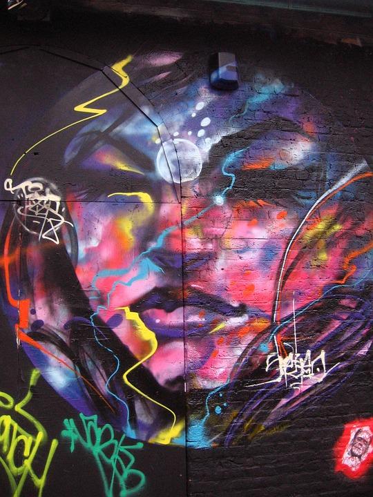 Graffiti, Tag, London, Face, Multicolor