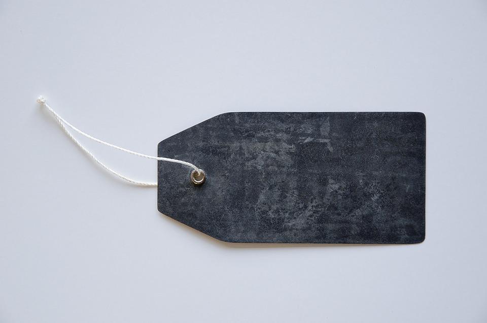 Tag, Label, Design, Metal, Rope, String, Black