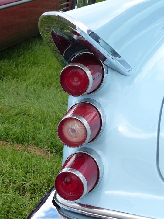 Tail Lights, Car, Blue, Car Show, Colors, Summer, Grass