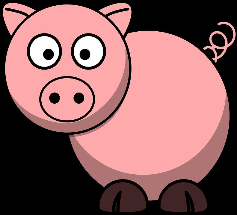 Pig, Animal, Farm, Tail, Lucky, Cartoon