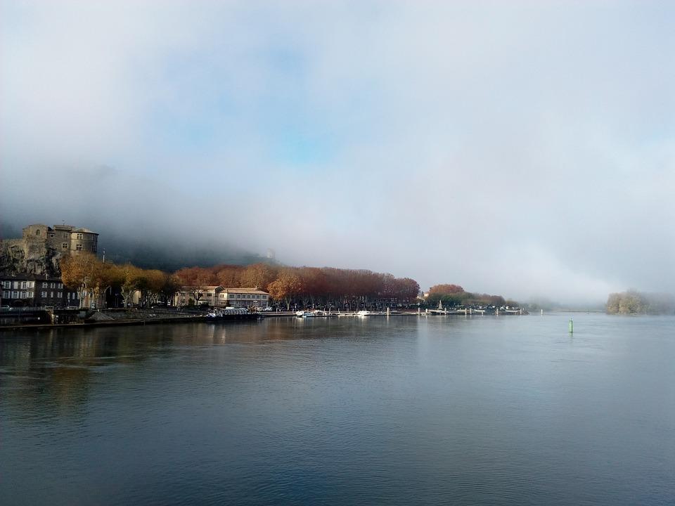 Rhône, Fog, Tournon-sur-rhône, Tain L'hermitage, Bridge
