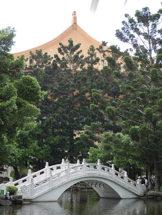 Chinese Bridge, Park, Trees, Taipei, Taiwan