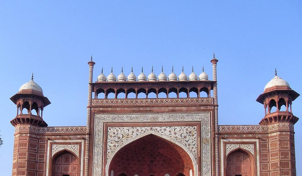 India, Agra, Mosque, Taj Mahal, Decoration, Porch