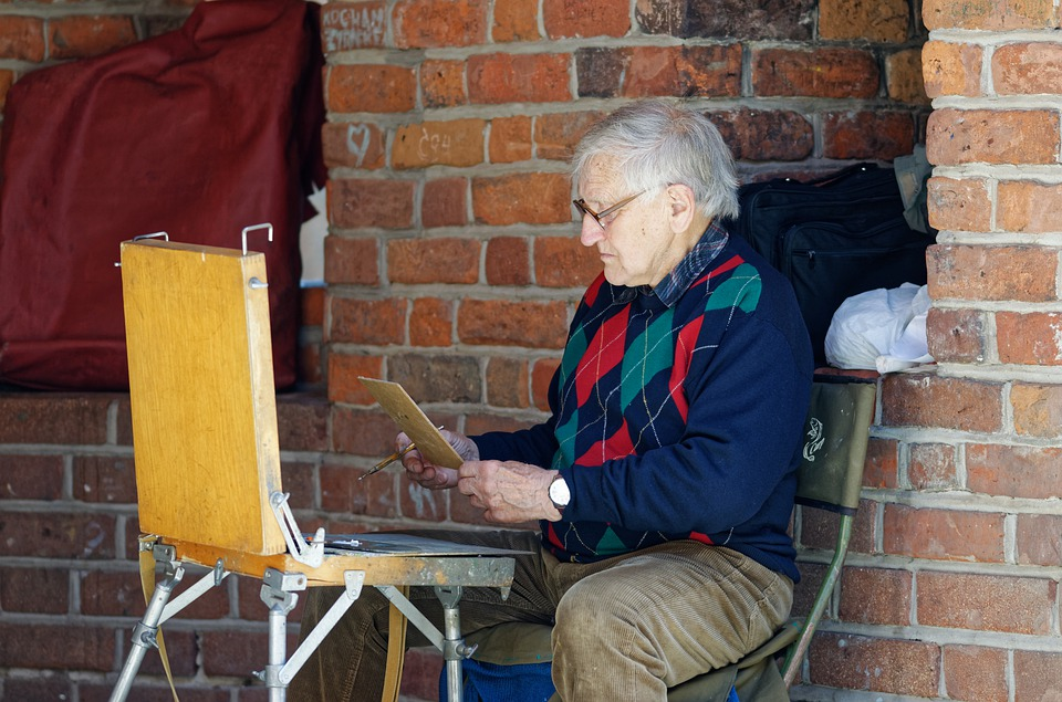 Man, Old, Artist, Talent, Painter, Painting, Chair