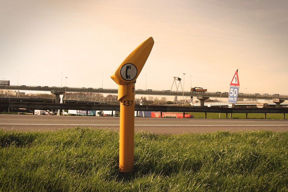 Talk Pole, Highway, Accident, Help, Car