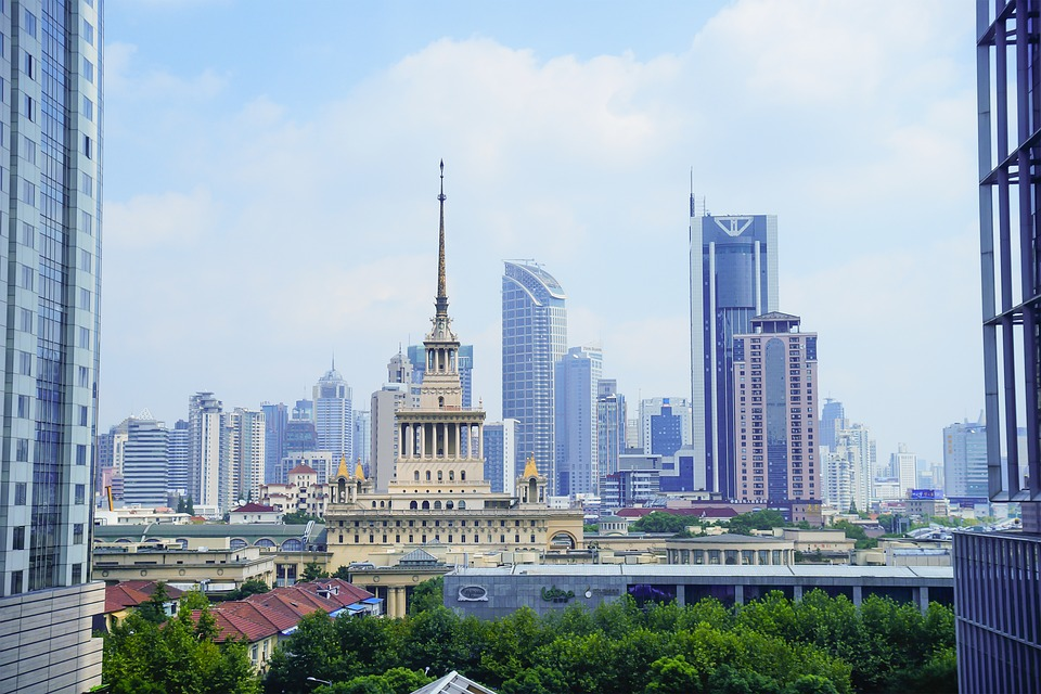City, Shanghai, Blue Sky, Tall Buildings