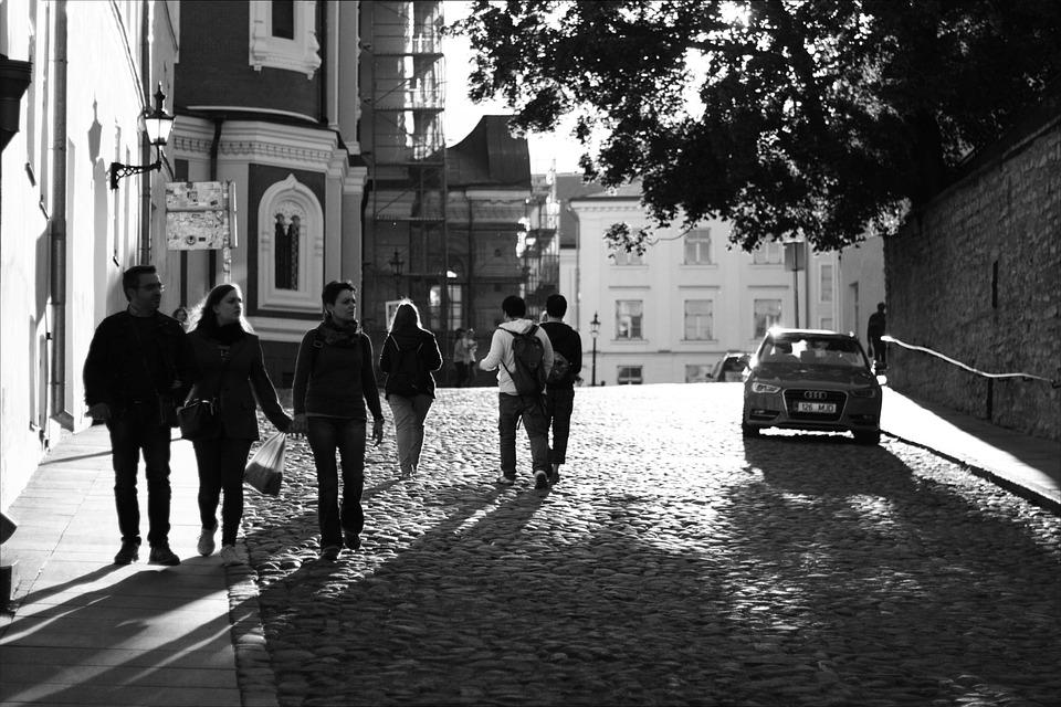 Reverse Light, Tallinn, People, Street, City center