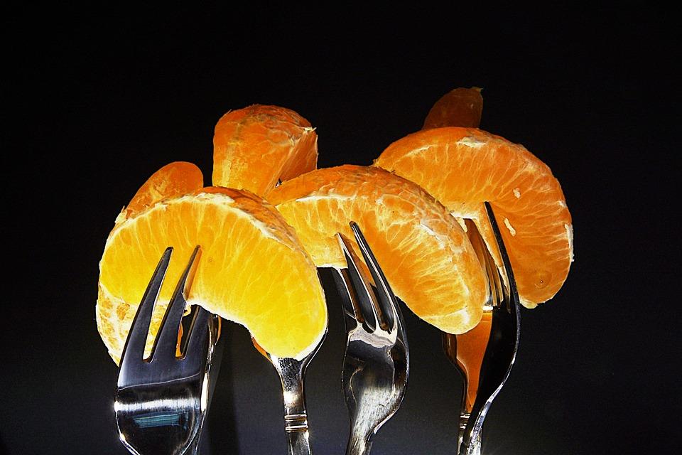 Tangerines, Forks, Food