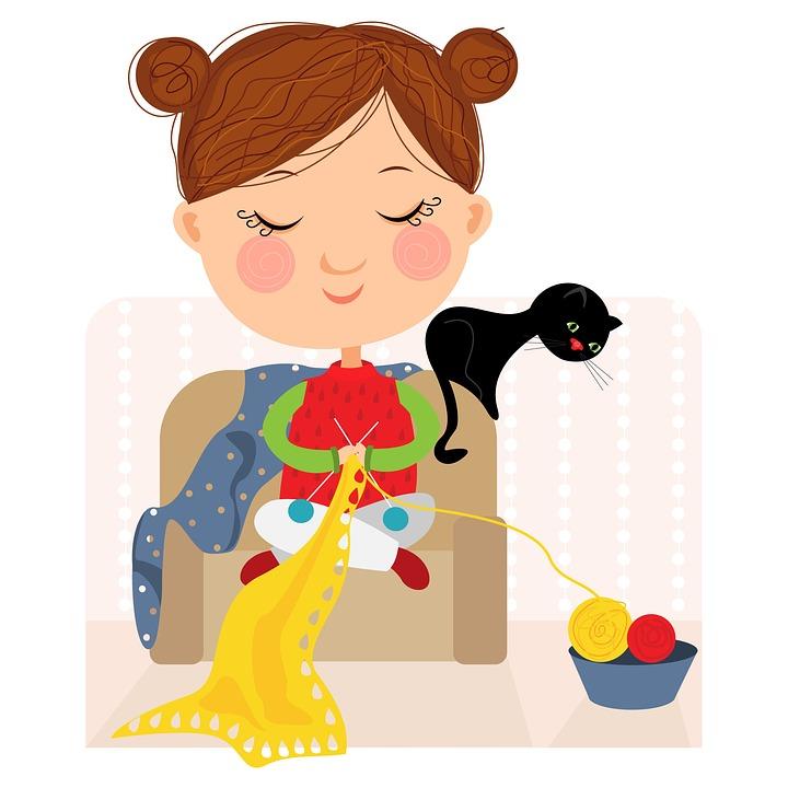 Knitting, Cat, Tangle, Girl, Needles, To Knit
