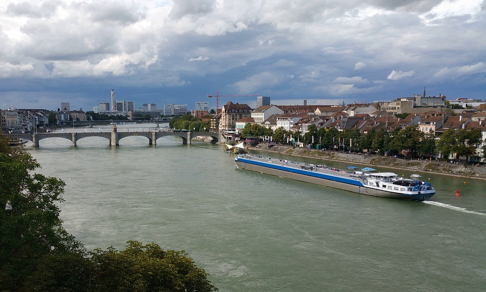 Basel, Rhine, River, Bridge, Tanker, Ship