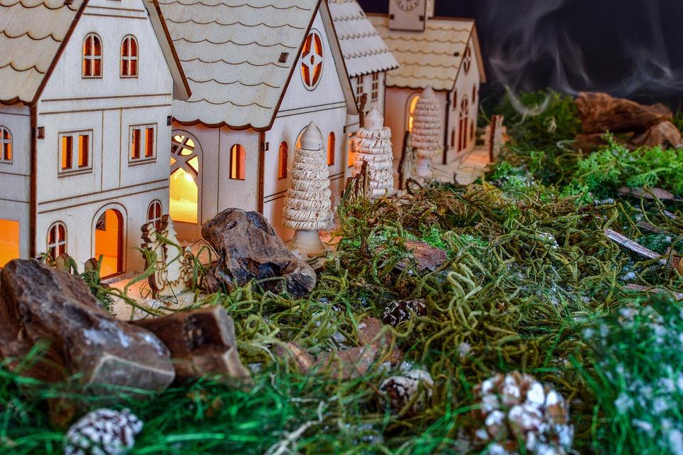 Christmas, Christmas Village, Tannenzweig, Background