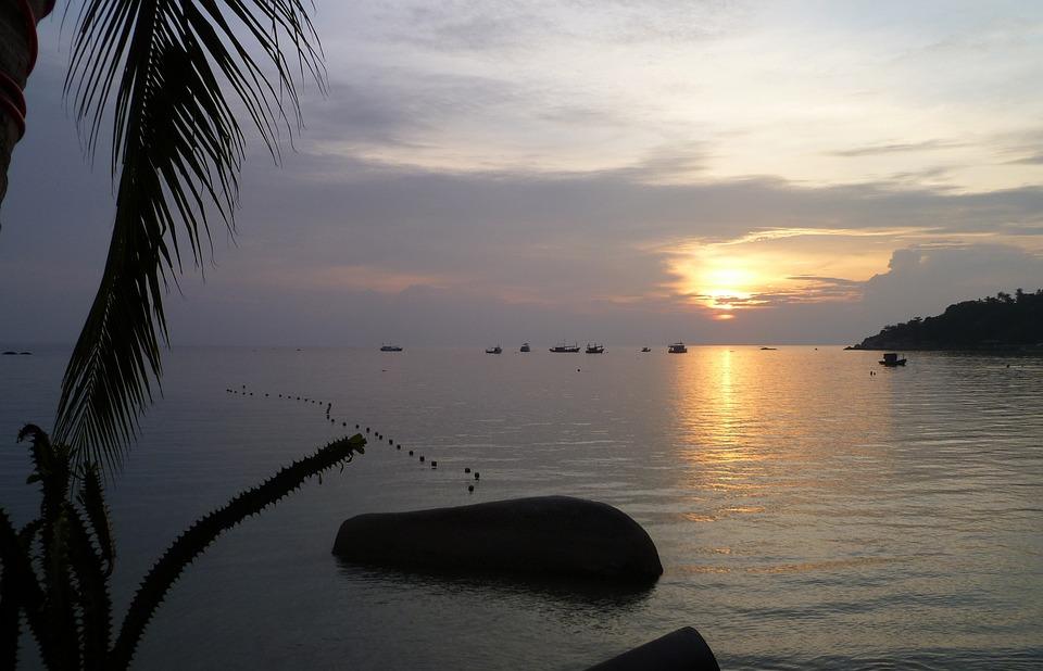 Thailand, Tao Iceland, Sea, Sunset, Evening Sky