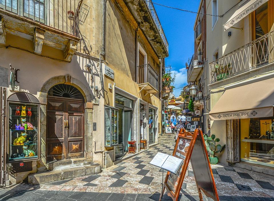Taormina, Sicily, Shop, Town, Tourist, Mediterranean