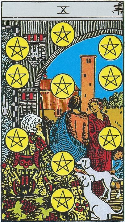 Ten Of Pentacles, Tarot, Pentacles, Coins, Minor Arcana
