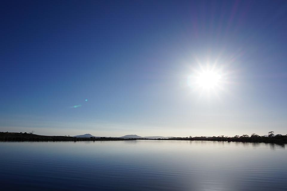 Sun, Water, Still, Lagoon, Reflection, Nature, Tasmania