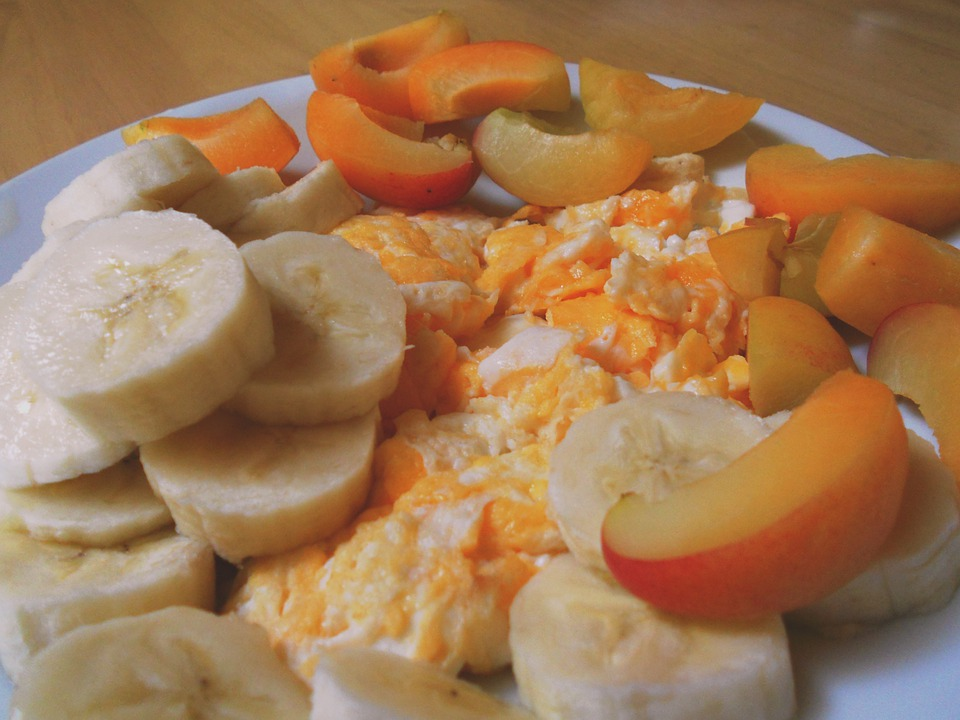 Breakfast, Banana, Eggs, Nectarine, Food, Diet, Tasty