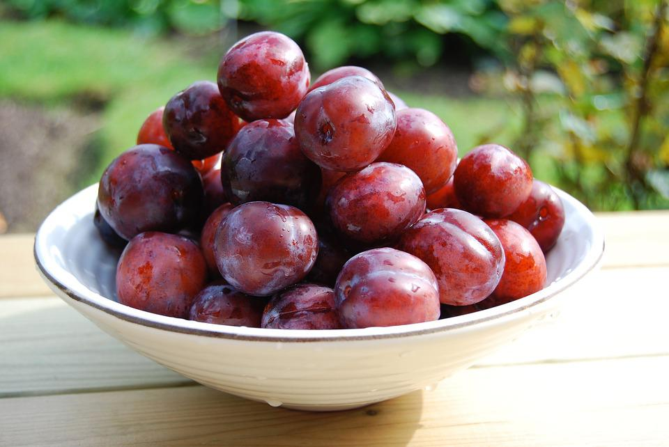 Plum, Bowl, Fruit, Food, Sweet, Ripe, Tasty, Delicious