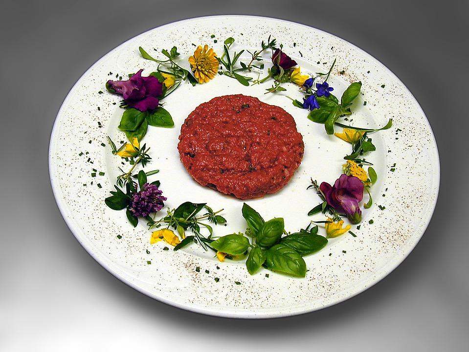Starter, Tatar, Beef, Minced Meat, Meat, Flowers