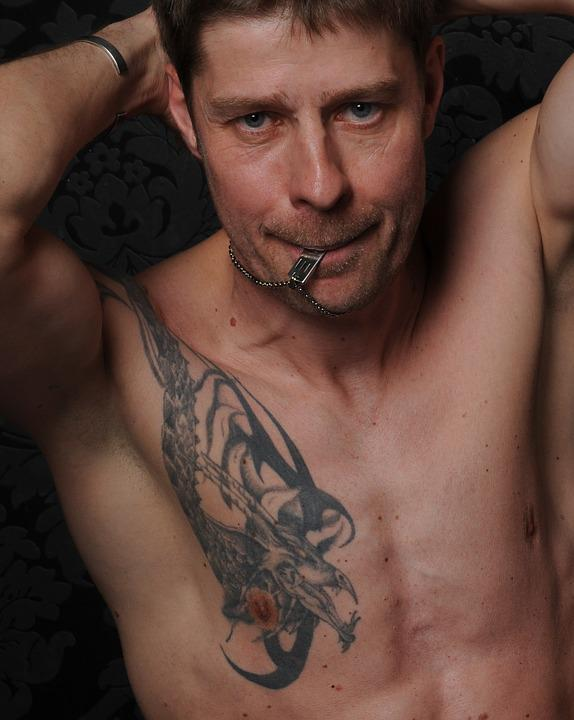 Man, Portrait, Male, Tattooed, Naked, Sexy, Muscles