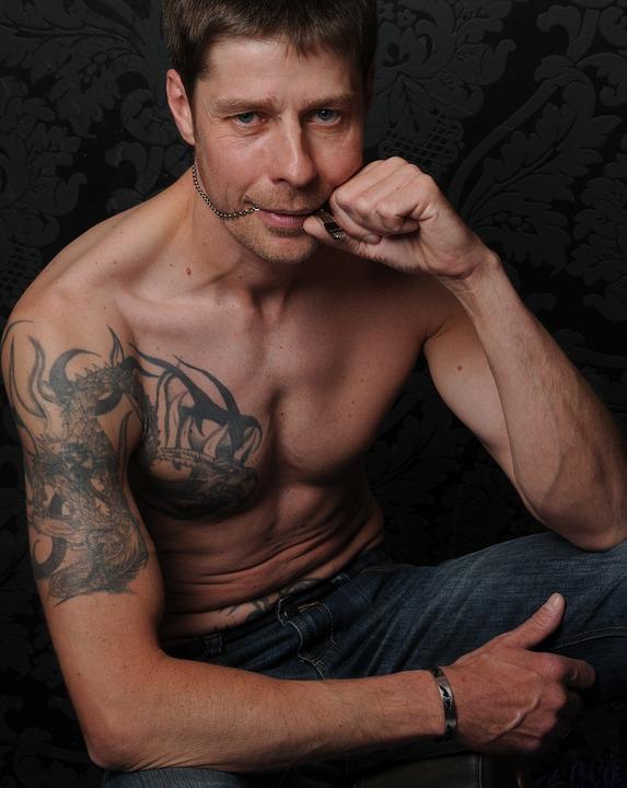 Man, Portrait, Male, Tattooed, Tattoo, Upper Body