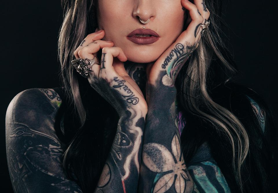 Adult, Tattoos, Body Art, Dark, Girl, Person, Portrait