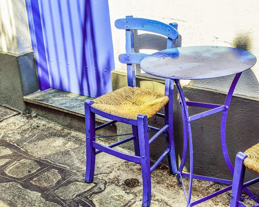 Chair, Table, Street, Blue, Tavern, Greek, Island