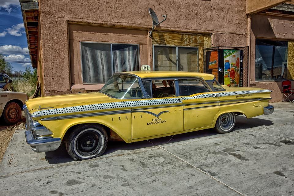 Edsel Ranger, Taxi Cab, Classic Car, Car, Yellow, Taxi
